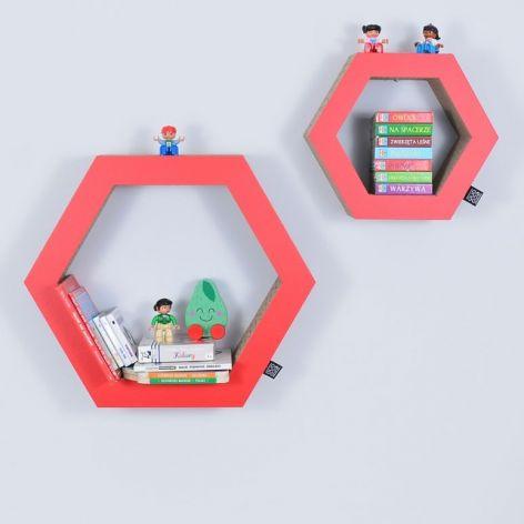 Półka na książki HEXAGON | czerwony