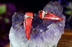 Masa perłowa, srebrne kolczyki czerwony