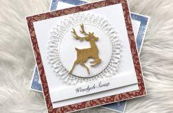 Kartka Bożonarodzeniowa czerwona z jelonkiem