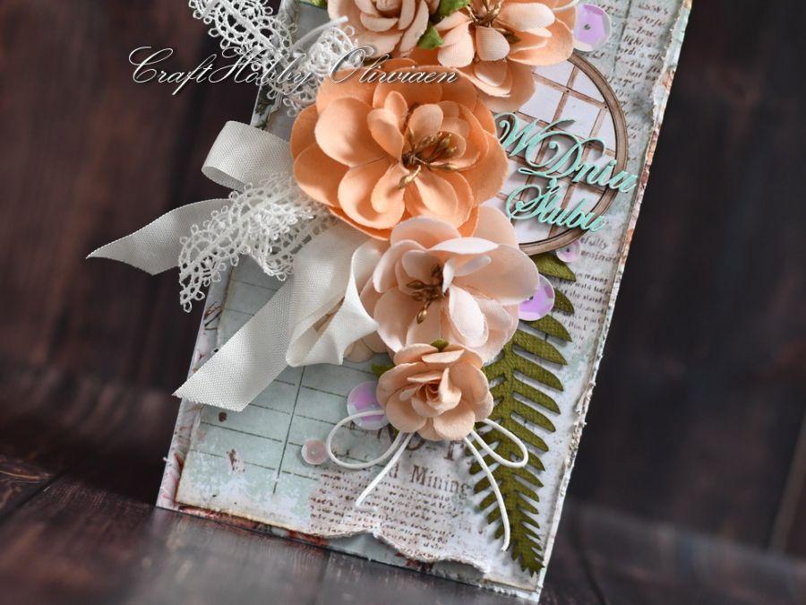 Ślubny bukiet łososiowy - Ślubny bukiet- detal II