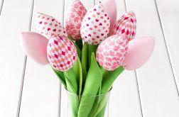 TULIPANY, jasno różowy bawełniany bukiet