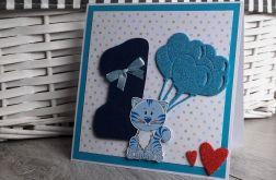 Kartka na Roczek urodziny jedynka kotek