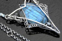 Naszyjnik srebrny z labradorytem