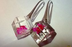 Cube - kolczyki z żywicy i srebra