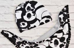 Komplet czapka i trójkąt: pandy