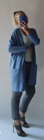 Kardigan damski oversize jeans melanż.