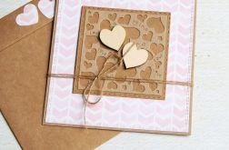 kartka ślubna lub miłosna : pink