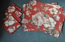 4 podkładki pod talerze - kwiaty na terakocie