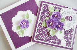 Kartka ROCZNICA ŚLUBU z fioletowymi kwiatami