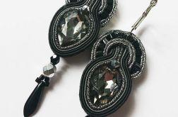Czarno-szare kolczyki z kryształkami