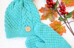 Komplet czapka i rękawiczki turkus z miętą