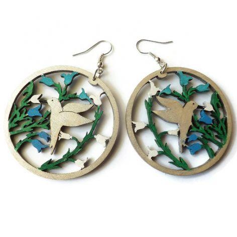Kolczyki drewniane, malowane - Kolibry