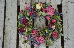 Naturalny wianek letni z kwiatów suszonych