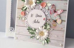 Kartka ślubna z motywem deski