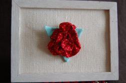 Róża w kropki - broszka