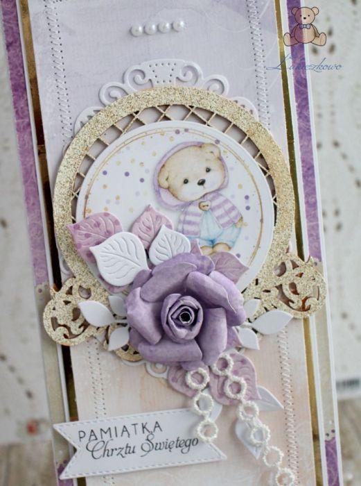Kartka na chrzest pamiątka Purple Love GOTOWA