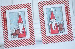 Migocząca kartka świąteczna z reniferem i św. Mikołajem