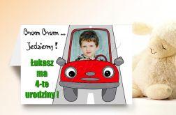 Zaproszenie na urodziny dziecka ze zdjęciem na 2,3,4,5,6,7,8,9 itd Auto