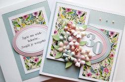 Kartka URODZINOWA z pastelowymi kwiatami