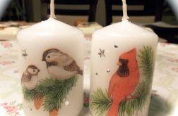 KOMPLET ŚWIECZEK DECOUPAGE z ptaszkami