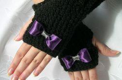 Rękawiczki - mitenki czarne z kokardką