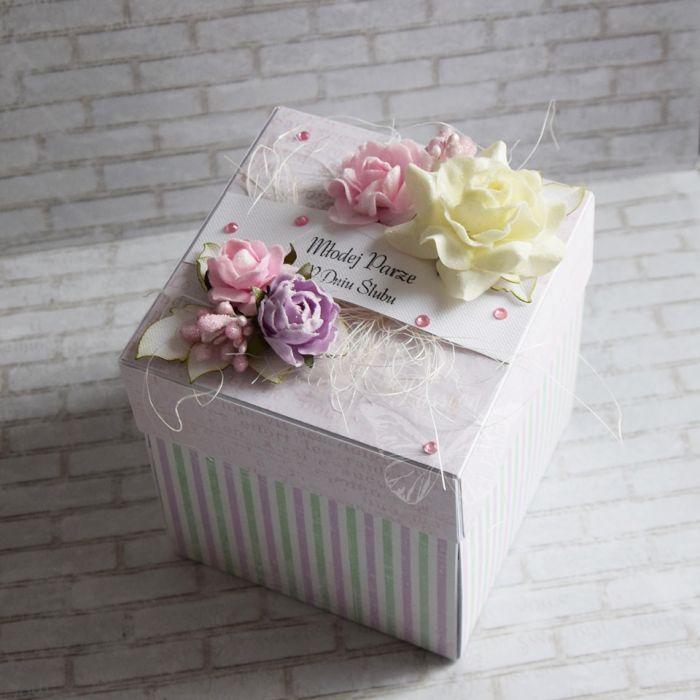 Ślubne pudełko - różowo-zielone
