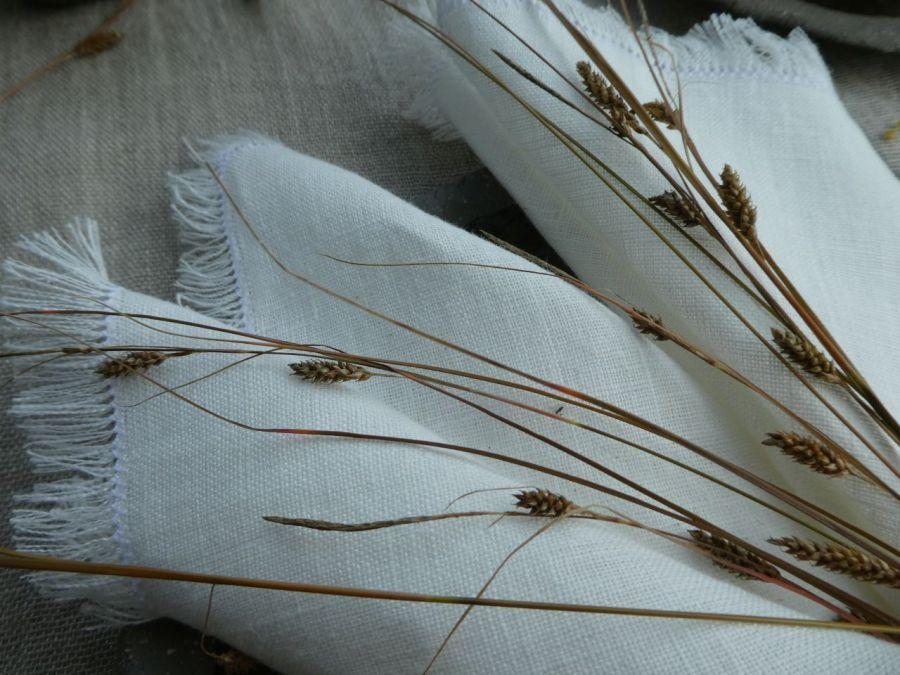 Serweta lniana boho kremowa - Serweta biała