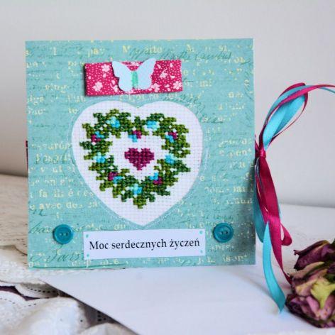 Kartka haft - Moc serdecznych życzeń ( 1 )
