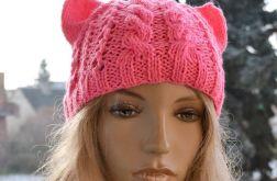 Czapka z uszami różowa