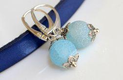 Kolczyki agat blue + srebrne bigle