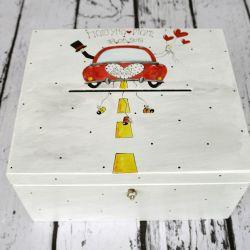 pudełko na karty ślubne z Młodą Parą