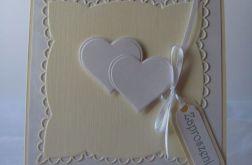 Zaproszenie ślubne - białe serduszka