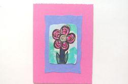 Kartka różowa z kwiatkiem 18
