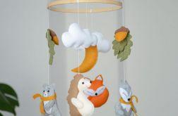 Baby mobile, karuzela leśne zwierzątka lis