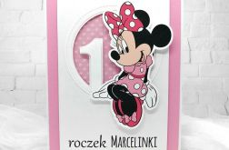kartka na roczek z myszką Minnie