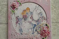 Ślubna kartka z bryczką #