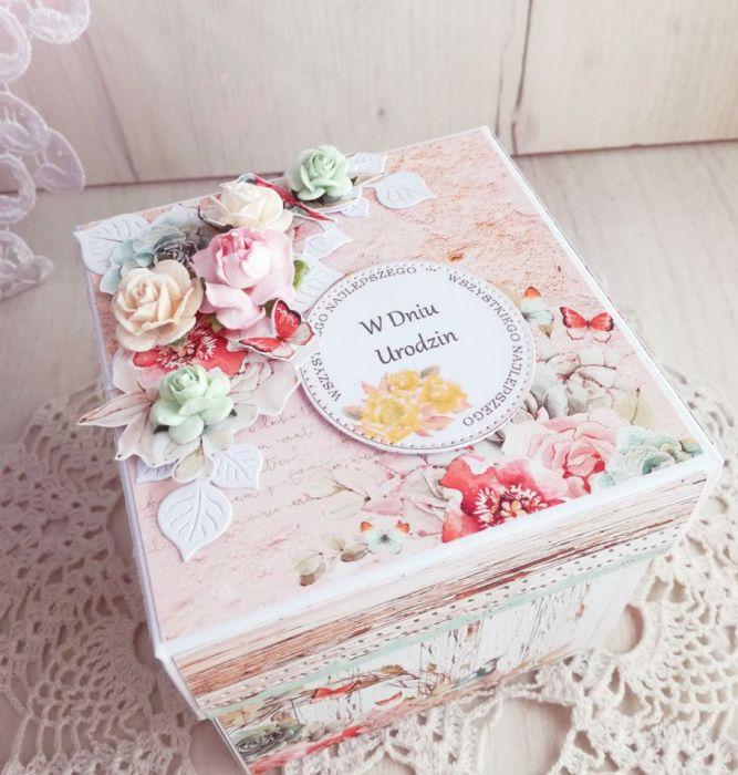 Exploding box urodzinowy z tortem Birdsong