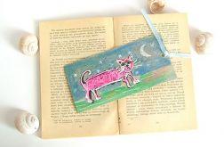 zakładka do książki-różowy kot