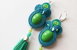 Zielono-niebieskie kolczyki z chwostami