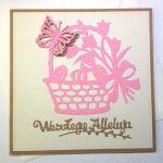 Kartka wielkanocna - różowy koszyczek  - kartka z kopertą