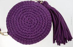 Torebka ze sznurka, okrągła, fioletowa