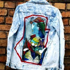 kurtka jeans recznie malowana picasso vintage