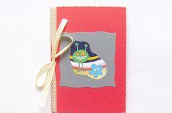 Kartka z kokardą i ufoludkiem - nr 15