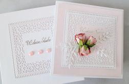Kartka W DNIU ŚLUBU biało-różowa