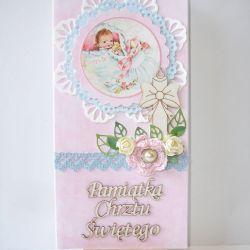 Kartka na chrzest różowa