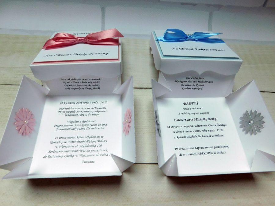 Zaproszenia na Chrzest w formie pudełka, box