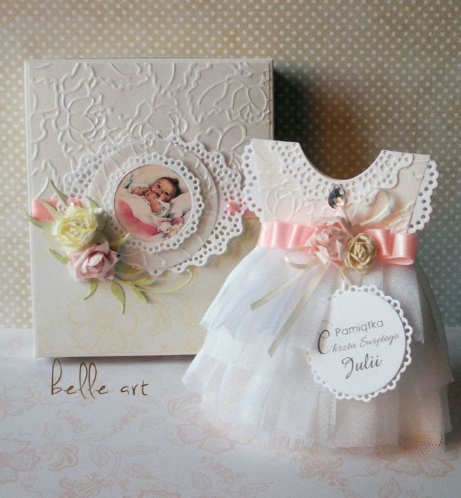 Kartka sukienka w pudełku – Kartki na chrzest - kolor
