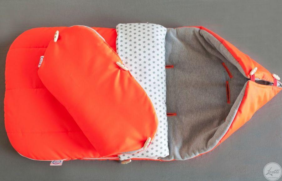 Zimowy WODOODPORNY śpiworek pomarańczowy