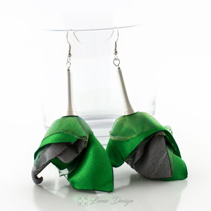 Kolczyki Silk duże zielone