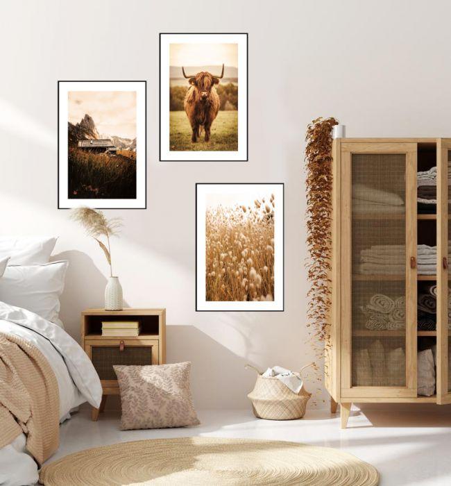 Zestaw 3 Plakaty Boho Natura Krowa Góry